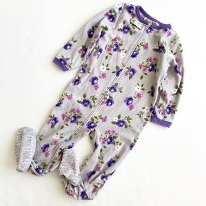 Carters floral print fleece footed pajama GUC 4T
